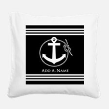 Black and White Nautical Rope Square Canvas Pillow