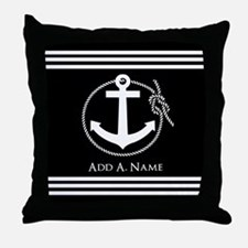 Black and White Nautical Rope and Anc Throw Pillow