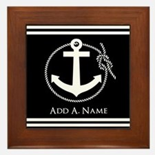 Black and White Nautical Rope and Anch Framed Tile
