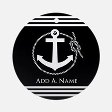Black and White Nautical Rope and Ornament (Round)