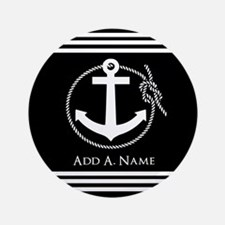 """Black and White Nautical Ro 3.5"""" Button (100 pack)"""
