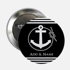 "Black and White Nautical Rope and Anc 2.25"" Button"
