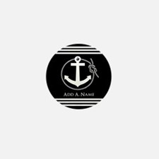 Black and White Nautical Rop Mini Button (10 pack)