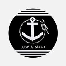 """Black and White Nautical Rope and Anch 3.5"""" Button"""