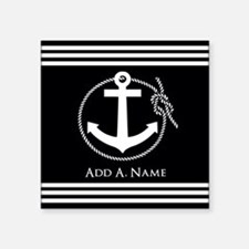 "Black and White Nautical Ro Square Sticker 3"" x 3"""