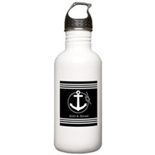 Black and White Nautic Water Bottle