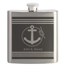 Black and White Nautical Rope and Anchor Flask