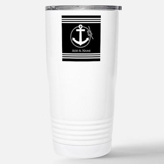 Black and White Nautica Stainless Steel Travel Mug