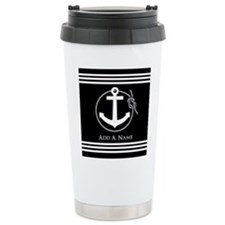 Black and White Nautica Travel Coffee Mug