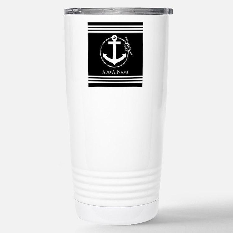 Black and White Nautica Travel Mug