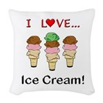 I Love Ice Cream Woven Throw Pillow
