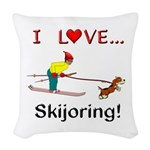 I Love Skijoring Woven Throw Pillow