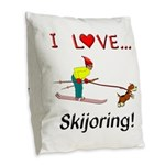 I Love Skijoring Burlap Throw Pillow