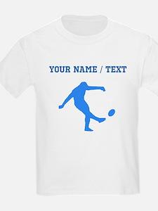 Custom Blue Rugby Kick T-Shirt
