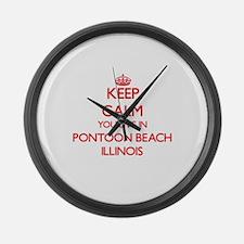 Keep calm you live in Pontoon Bea Large Wall Clock