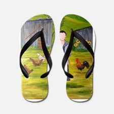 Unique Folk art Flip Flops