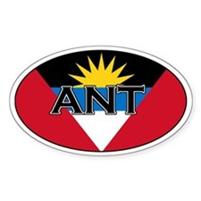 Antigua Flag with text Oval Decal
