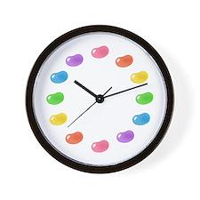 pink jellybean stripes Wall Clock