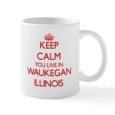 Keep calm you live in Waukegan Illinois Mugs