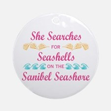 Sanibel shelling Ornament (Round)