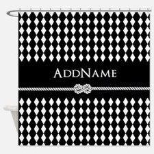 Black and White Argyle and Rope Per Shower Curtain