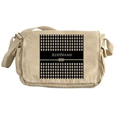 Black and White Argyle and Rope Pers Messenger Bag