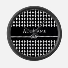 Black and White Argyle and Rope P Large Wall Clock