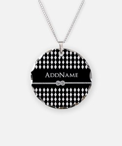Black and White Argyle and R Necklace