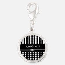 Black and White Argyle and Rop Silver Round Charm