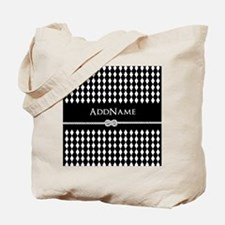 Black and White Argyle and Rope Personali Tote Bag