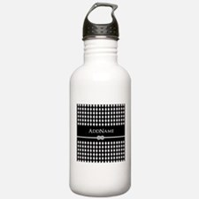 Black and White Argyle Sports Water Bottle