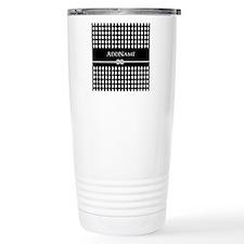 Black and White Argyle Travel Mug