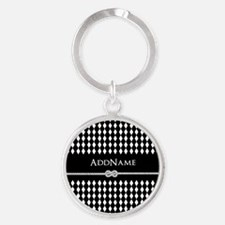 Black and White Argyle and Rope Per Round Keychain