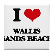 I Love Wallis Sands Beach Tile Coaster