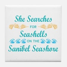 Sanibel shelling Tile Coaster