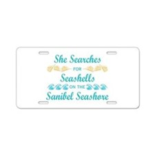 Sanibel shelling Aluminum License Plate