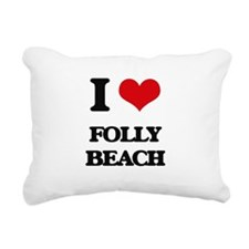 I Love Folly Beach Rectangular Canvas Pillow
