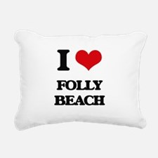 I Love Folly Beach Rectangular Canvas Pillow