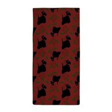 Scotties on Red Diamonds Beach Towel