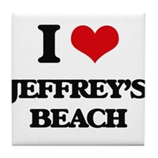 I Love Jeffrey'S Beach Tile Coaster