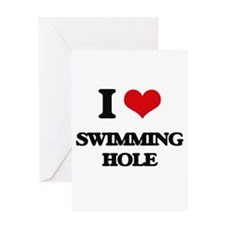 I Love Swimming Hole Greeting Cards