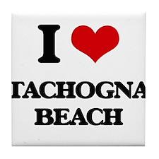I Love Tachogna Beach Tile Coaster