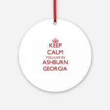 Keep calm you live in Ashburn Geo Ornament (Round)