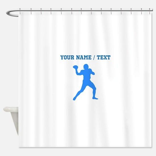 Custom Blue Quarterback Shower Curtain