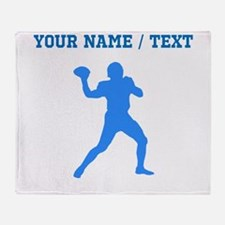 Custom Blue Quarterback Throw Blanket