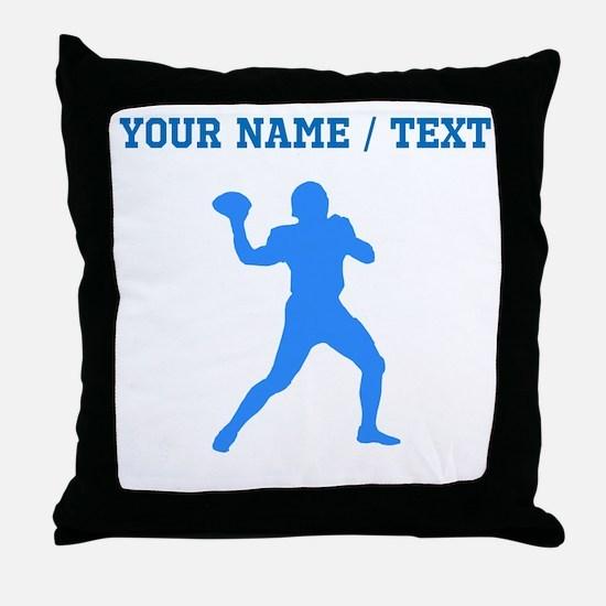 Custom Blue Quarterback Throw Pillow