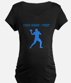 Custom Blue Quarterback Maternity T-Shirt