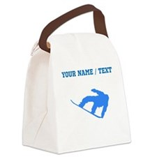 Custom Blue Snowboarder Canvas Lunch Bag