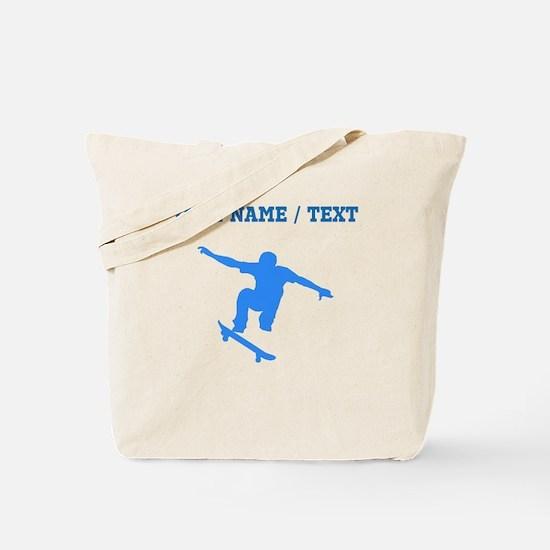 Custom Blue Skateboarder Tote Bag