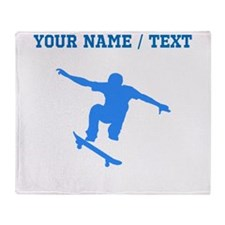 Custom Blue Skateboarder Throw Blanket